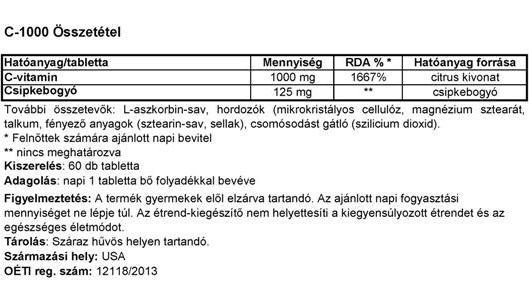 Vitamin Station C-vitamin-60db összetétele
