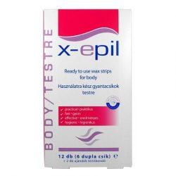 X-Epil szőrtelenítő gyantacsík testre 12db