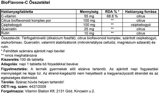 Vitamin Station BioFlavone-C összetevői